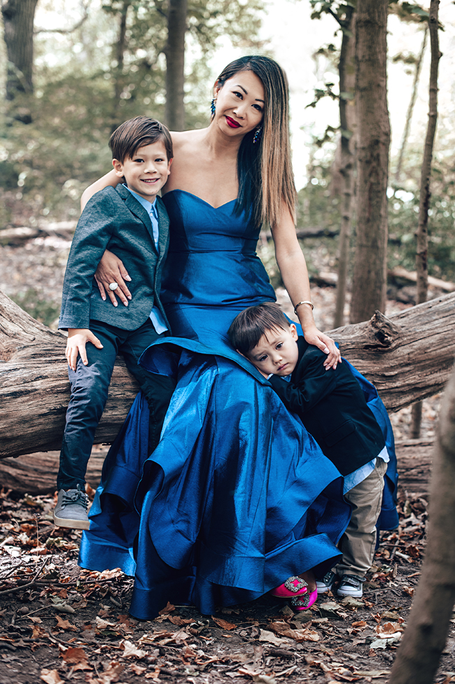 Black Tie Dress, Alyce Paris Dress, Holiday looks for a photo shoot, Mom and Son Photoshoot, Mom and Son what to wear for holiday card