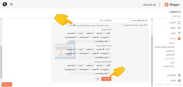 كيفية ضبط علامات رؤوس مخصصه لبرامج الروبوت Custom robots header tags بالطريقه الصحيحه - اعدادات بلوجر الاوليه