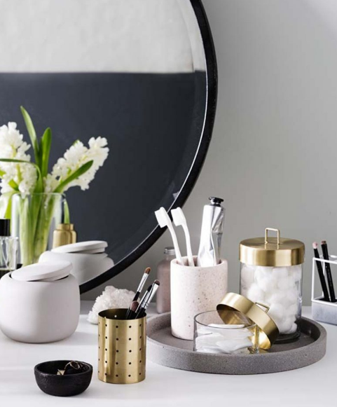 Put your favorite beauty product set on a nice stone tray.