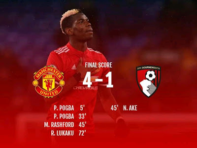 Manchester United closed to within three points of Arsenal thanks to another impressive display in a 4-1 win over Bournemouth.