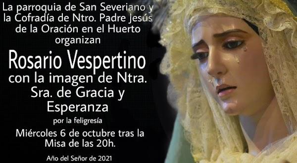 Rosario Vespertino, con la Sagrada Imagen de Ntra. Sra. de Gracia y Esperanza en Cádiz 06 de Octubre del 2021