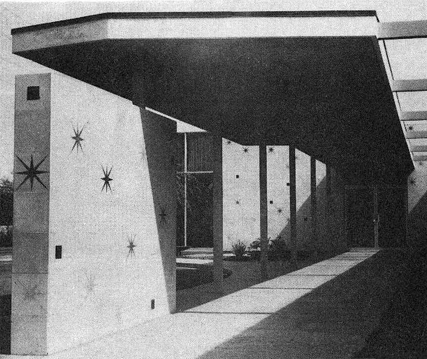 photograph of a 1961 hospital entrance with starbursts