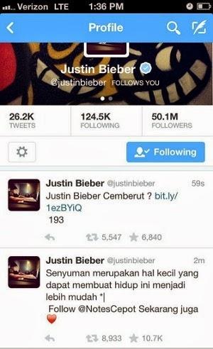 Batavia Smart: Justin Bieber's Twitter account was hacked
