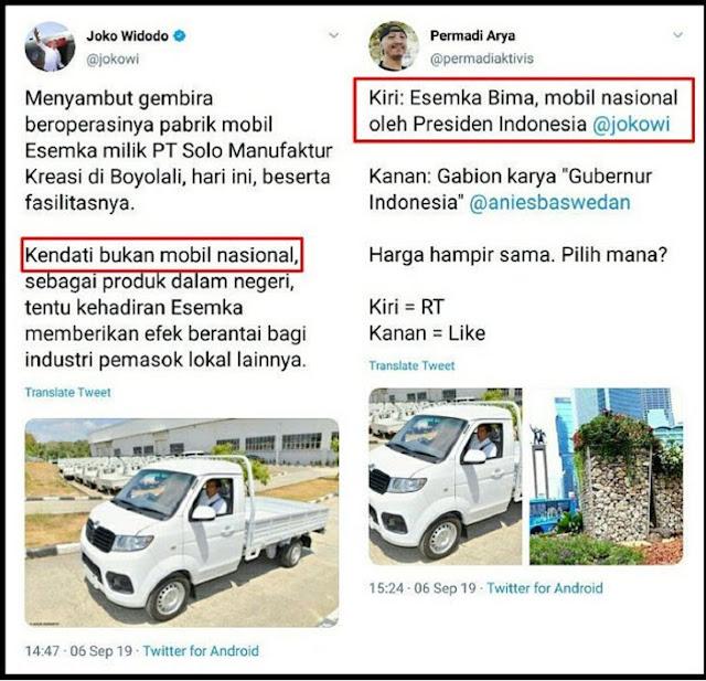 """HAHAHA... Sebut Esemka """"Mobil Nasional"""", Permadi Abu Janda Ketampol Jokowi"""