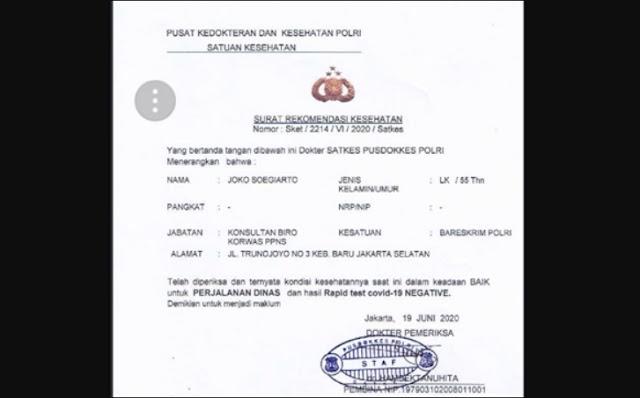 Tak Hanya Surat Jalan, Kini Heboh Surat Bebas Corona Djoko Tjandra Diterbitkan Pusdokkes Polri
