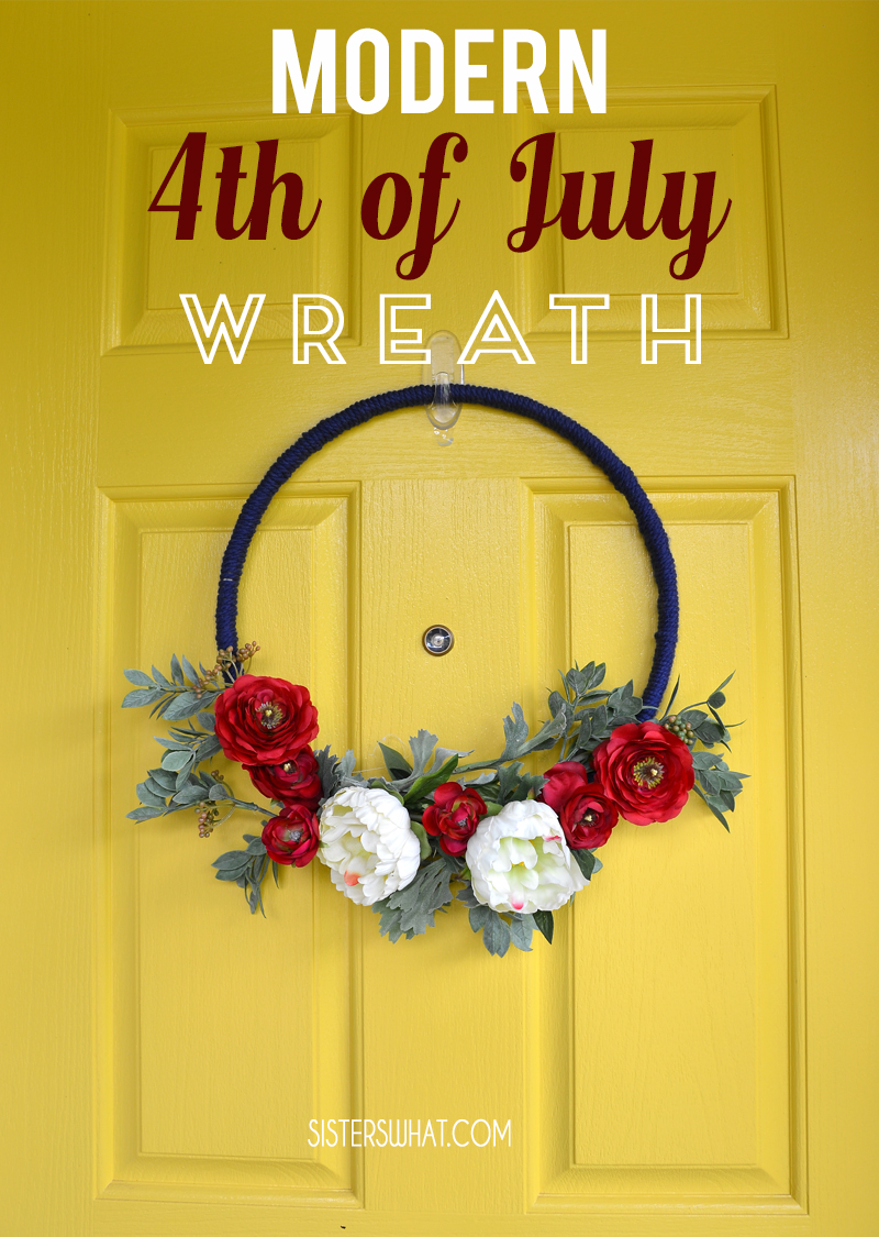 Modern 4th of July Floral summer Wreath