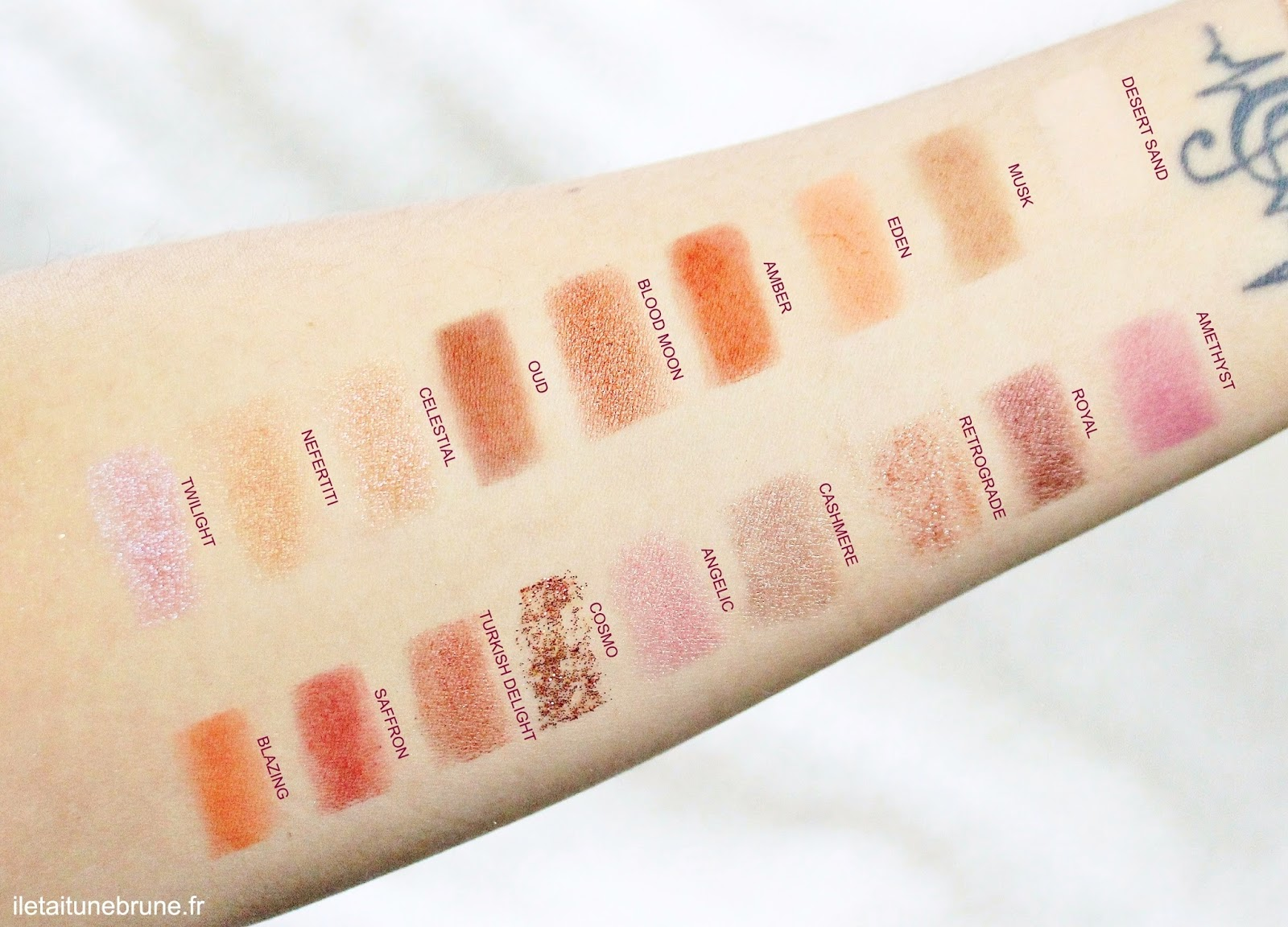 swatches desert dusk huda beauty