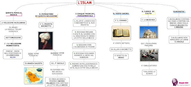 mappedsa mappa schema dislessia dsa storia islam religione maometto corano arabo musulmana