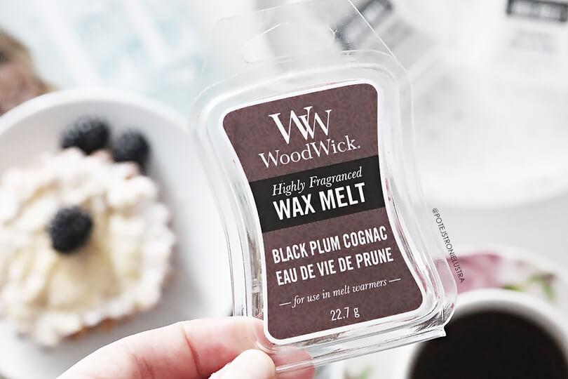 woodwick black plum cognac wosk zapachowy