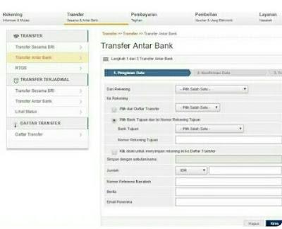 transfer bri ke mandiri syariah lewat internet banking