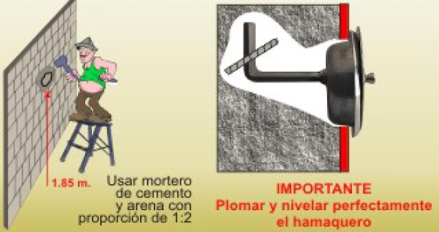 Instrucciones de como colocar un gancho para hamaca