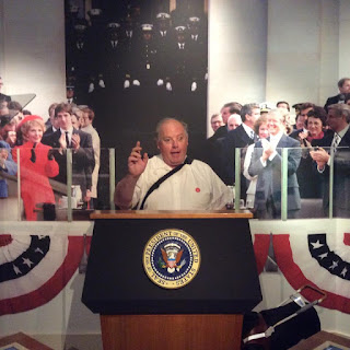 William Elliott delivers a speech from behind the Presidential Podium at the Ronald Reagan Museum in California.