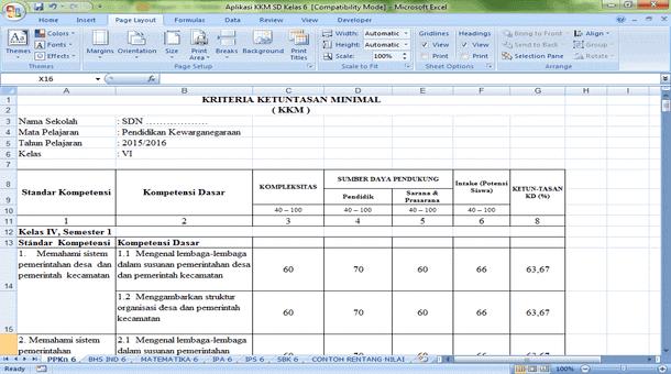 Aplikasi KKM SD Kelas 4 5 6 Format Microsoft Excel