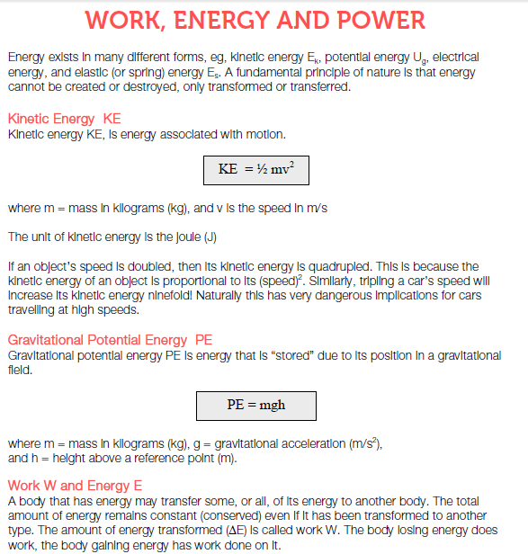 Work energy and power notes,concept,kinetic energy,k.e,potential energy,p.e,