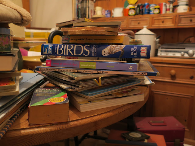 Books and other things piled on table