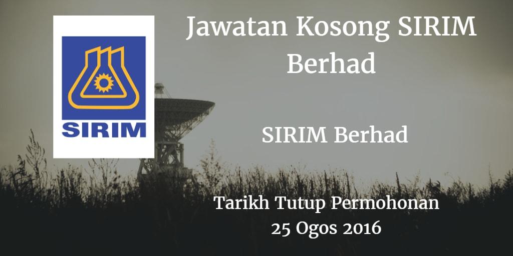 Jawatan Kosong SIRIM Berhad 25 Ogos 2016