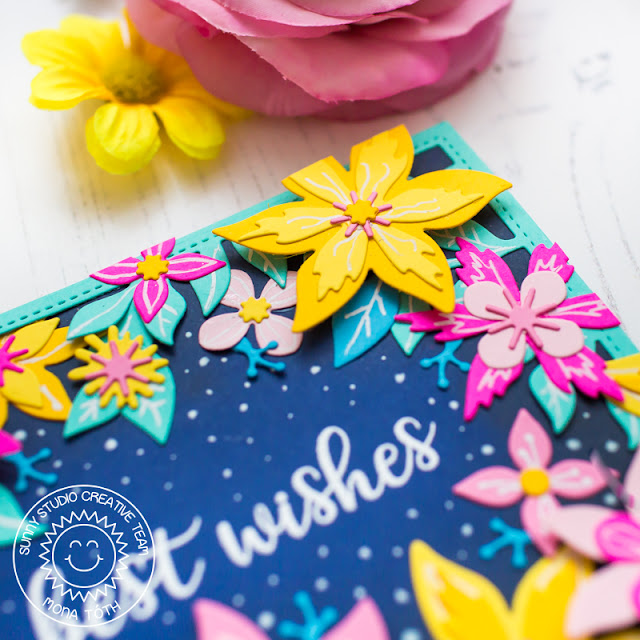 Sunny Studio Stamps: Botanical Backdrop Die Floral Greetings Best Wishes Card by Mona Toth