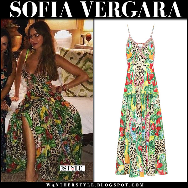 Sofia Vergara in green tropical print maxi dress camilla party fashion january 1