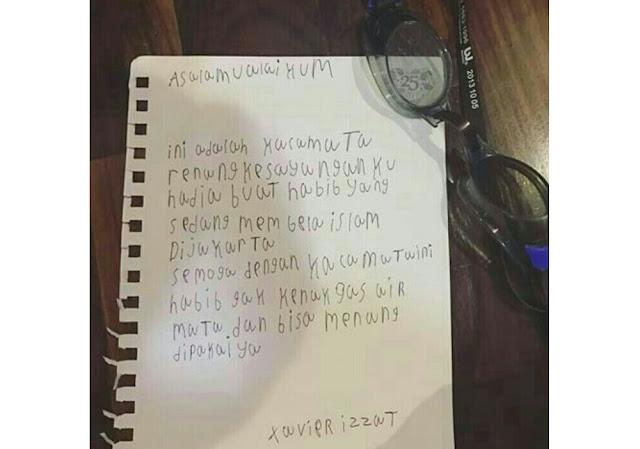 surat dan kacamata bocah untuk Habib Rizieq