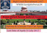 Delhi High Court Recruitment 2017– Senior Judicial Assistant