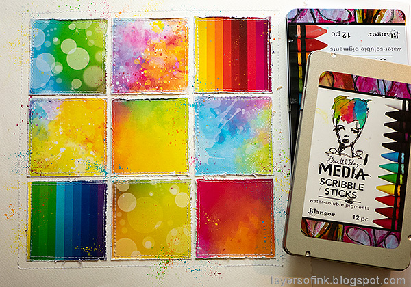 Layers of ink - Rainbow Blocks Scrapbooking Page by Anna-Karin Evaldsson. Splatter with Scribble Sticks.