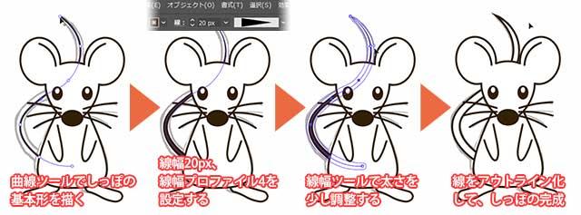 ネズミのしっぽの描き方