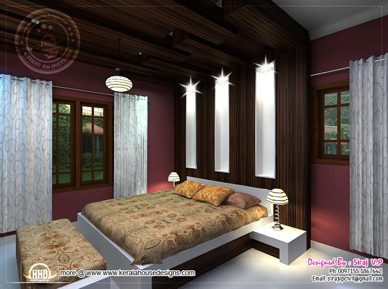 3D renderings of bedroom interior design | Home Kerala Plans