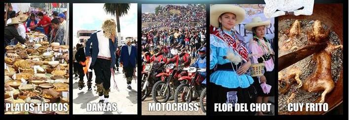 concurso y exposicion de platos típicos, danzas, motocross, flor del chot