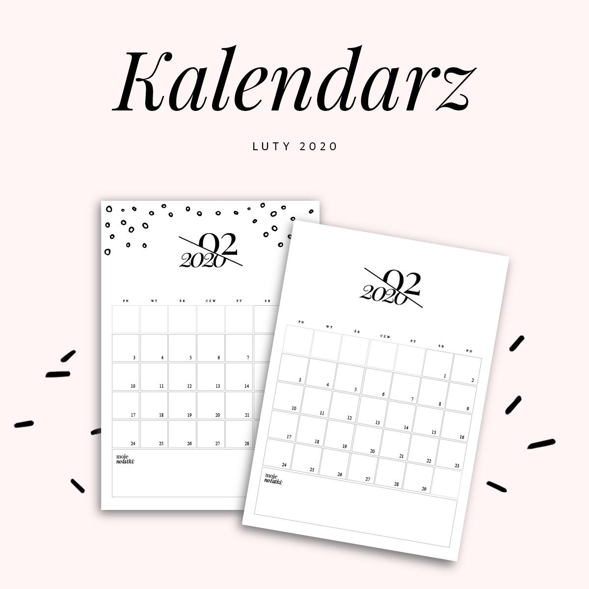 Kalendarz do druku - luty 2020 {do pobrania za darmo}