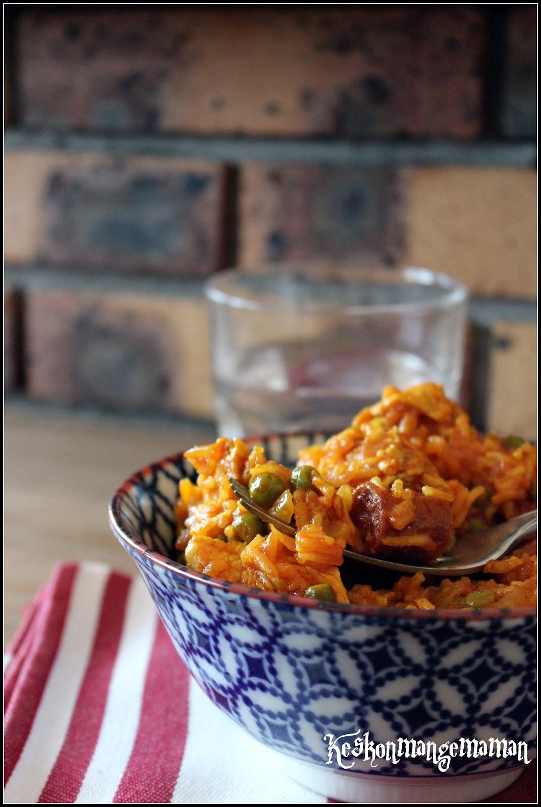 Keskonmangemaman riz l 39 espagnole au poulet au multi cuiseur recette facile et conomique - Absorber l humidite avec du riz ...