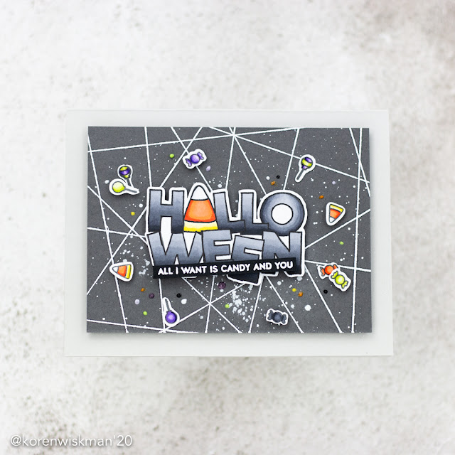 simon says stamp, halloween, greeting card, candy, all I want is candy and you, alcohol markers, heat embossing, die cutting, fractured background, The boo crew, stamping, coloring, splatter, gouache, nuvo drops, kolour map