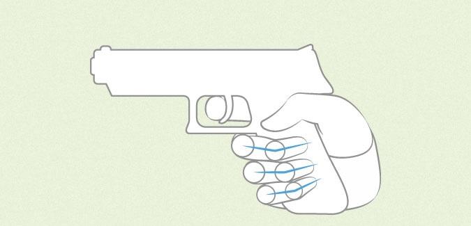 Anime memegang proporsi jari pistol