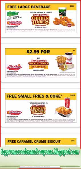 graphic regarding Hardee's Printable Coupons known as Hardees Discount codes: 10-Piece Bird Tenders for $7.99