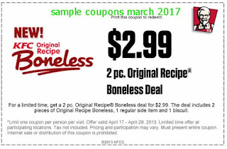 free Kfc coupons march 2017