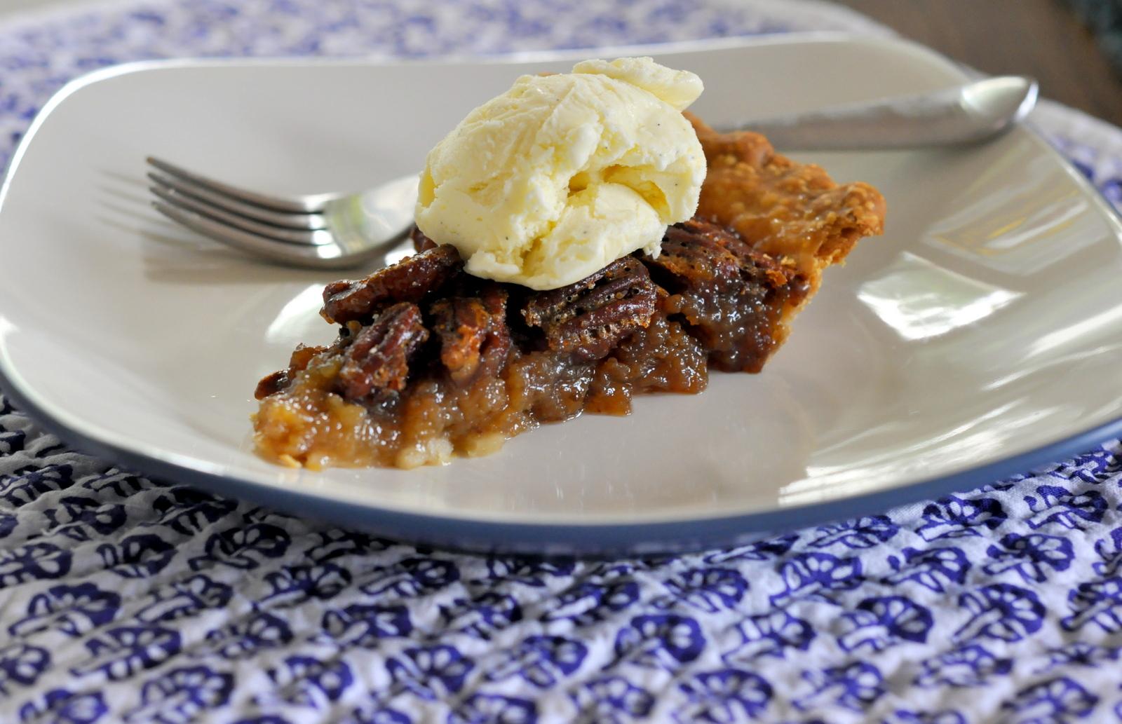 Classic Pecan Pie with Vanilla Bean Ice Cream | Taste As You Go