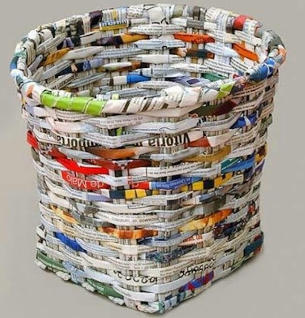 How to make baskets from used newspapers
