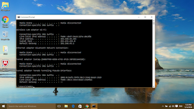 Command Prompt Window with details