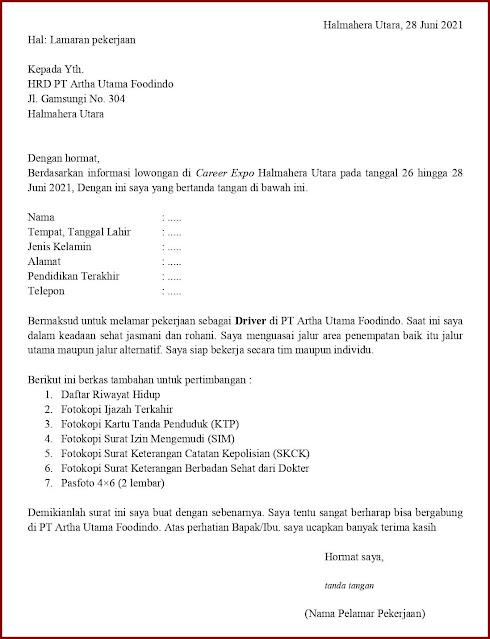 Contoh Application Letter Untuk Driver Mobil Box (Fresh Graduate) Berdasarkan Informasi Dari Job Fair