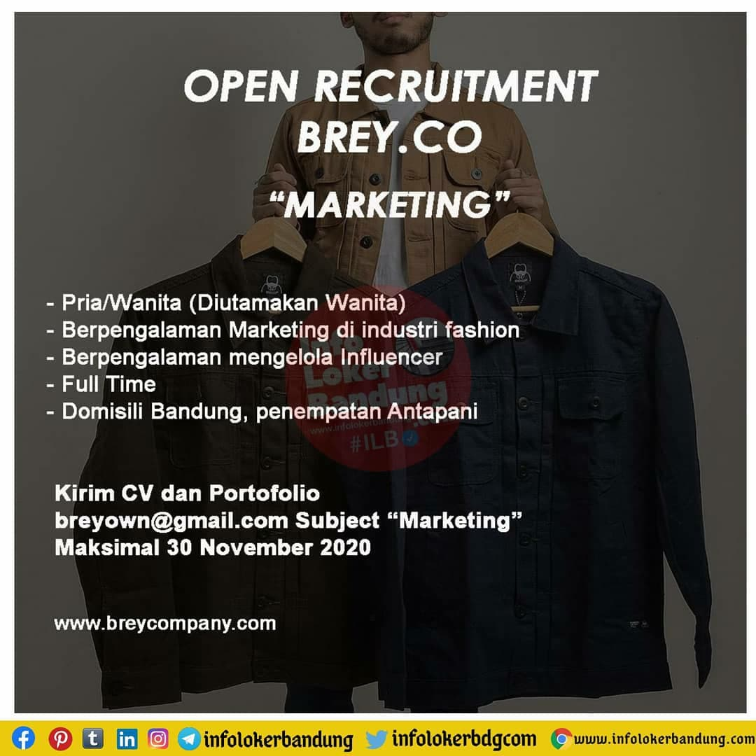 Lowongan Kerja Brey Co Bandung November 2020