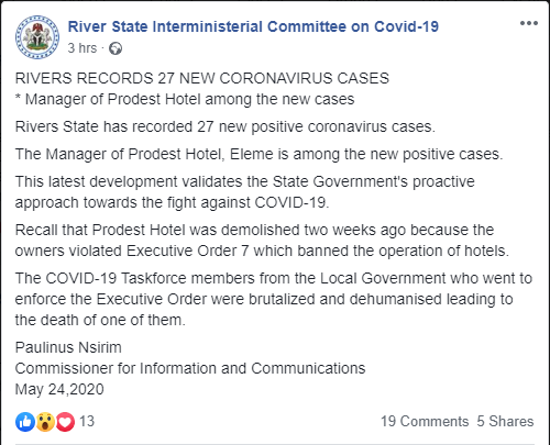 Manager of demolished hotel among 27 new cases of Coronavirus – Rivers government