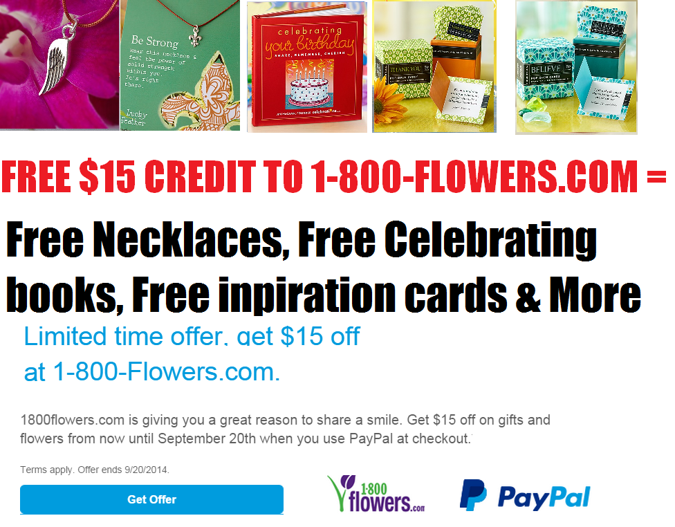 $15 off $15 1-800-Flowers Purchase, Select Paypal Accounts Only = 2