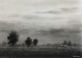 Charcoal demo painting during online charcoal workshop using zoom app