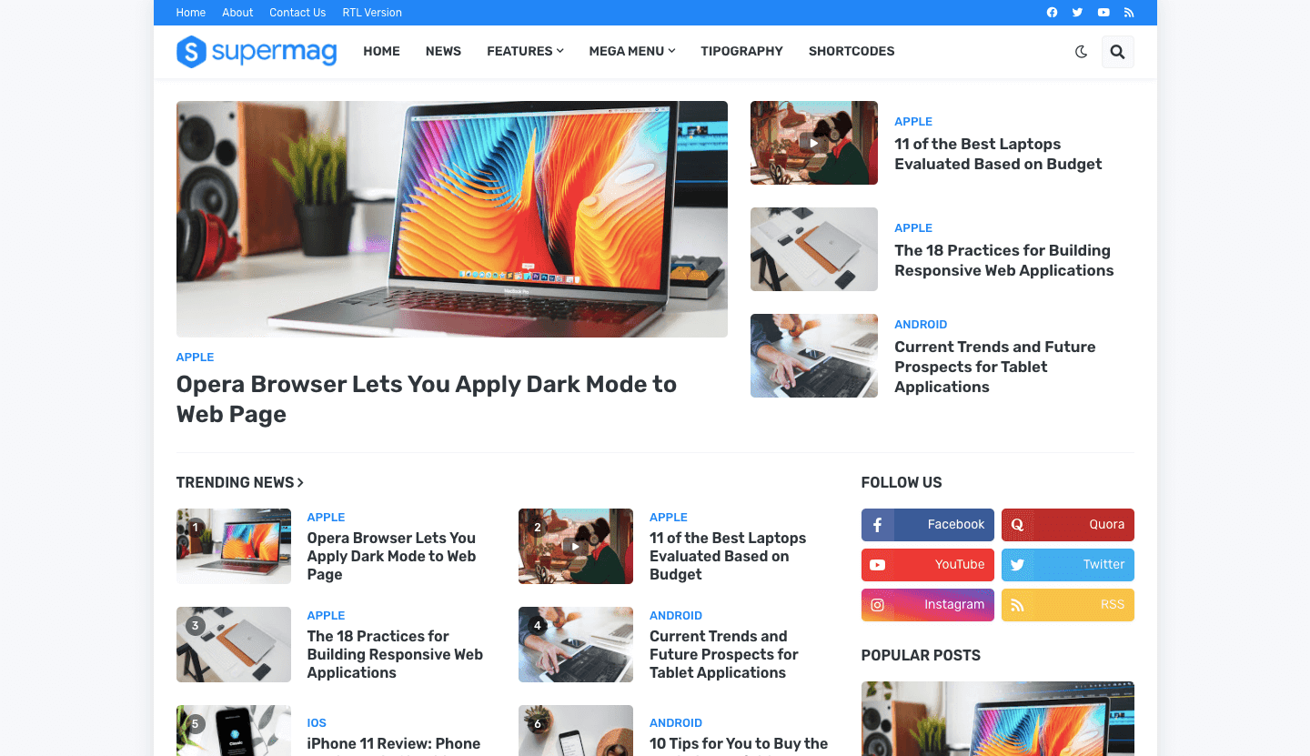 SuperMag - News and Magazine Blogger Template
