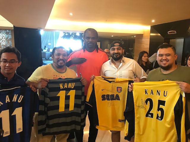 Photos: Kanu Nwankwo shares photos as he arrives Indonesia with other EPL Legends
