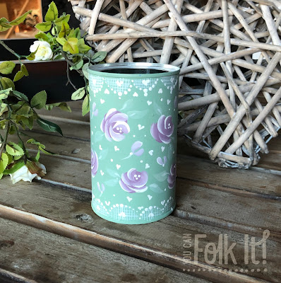 Painted coffee tin using Chalky Finish paint and our You Can Folk It Vintage Rose kit.