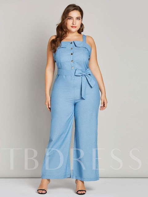 Knot Button Front Strap Women's Jumpsuit