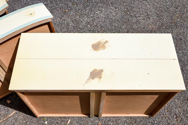 Filling old dresser hardware holes with wood filler