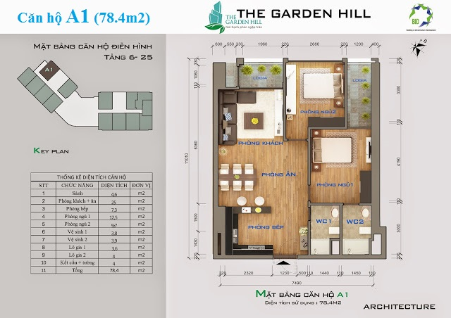 Thiết kế căn hộ A1 The Garden Hill