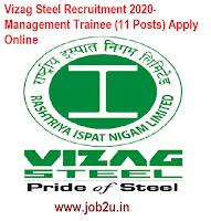 Vizag Steel Recruitment 2020- Management Trainee (11 Posts) Apply Online