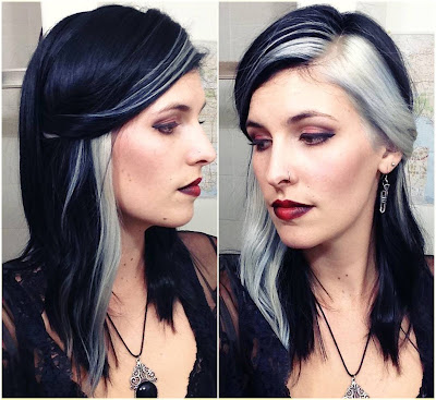 Black with Blue Undertone and White Panels Colors - Two Tone Hair Color Ideas For Long Hair Best Combinations